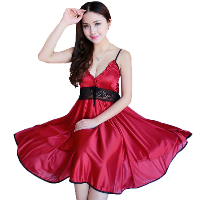 c3c18404f2 Ladies Sexy Silk Satin Night Dress Sleeveless Strap Lace Nightgown  Sleepwear Women Sling Nightwear Sleepshirt Red Nightdress
