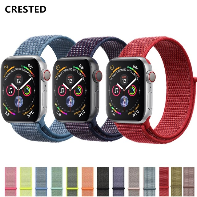 CRESTED Sport Loop strap For Apple Watch band 4 42mm 38mm iwatch 3 band 44mm 40mm correa Nylon wrist bracelet watch Accessories