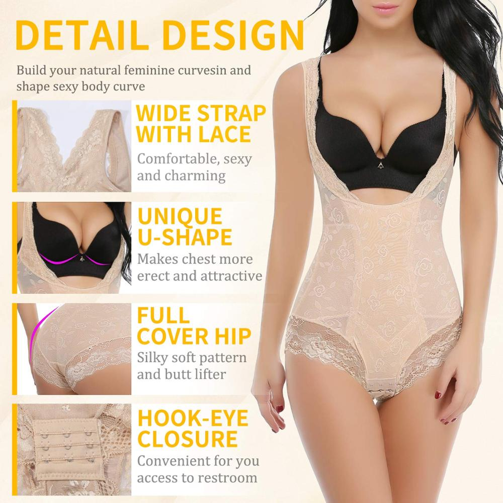 Miss Moly Lace Full Body Shaper Tummy Control Bodysuit Waist Cincher Underbust Shapewear Slimming Trainer Panties Gridle Corset