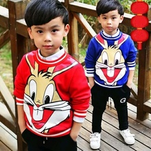 2016 cartoon rabbit  autumn  winter Add wool 100%cotton  baby clothes fashion children Sweatshirts red blue