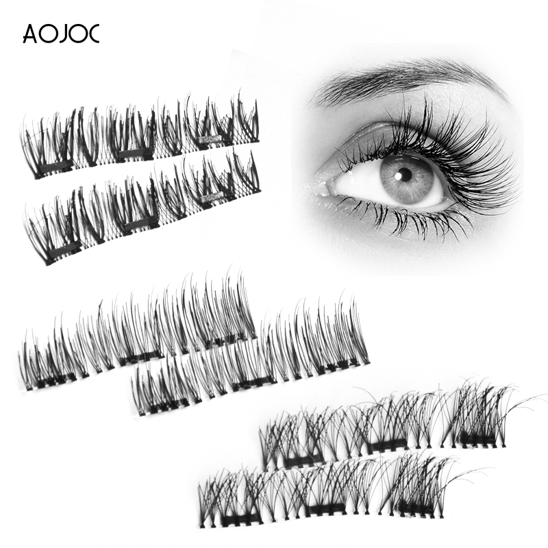 4Pcs/Pair False Magnetic Eyelashes Extension Tools Magnet Lashes 3d Natural Hair Thick Fake Eyelash Handmade With box packaging