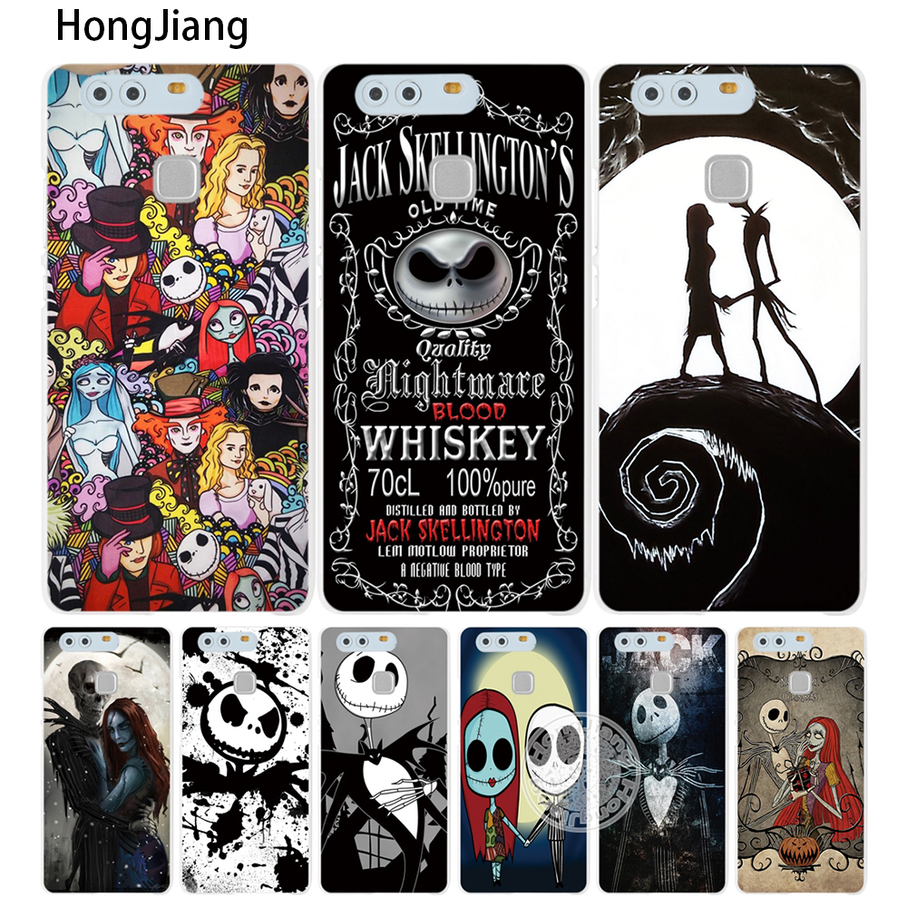 HongJiang Jack&Sally Nightmare Before Christmas Cover phone Case for huawei Ascend P7 P8 P9 P10 lite plus G8 G7 honor 5C 2017