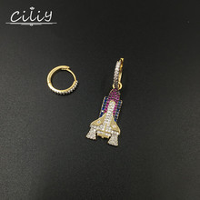 Ciliy Hyperbole Fashion Asymmetry Earrings Colourful Zircon rocket  Earring Women Boucles DOreilles Pour Les Femmes F1420FY