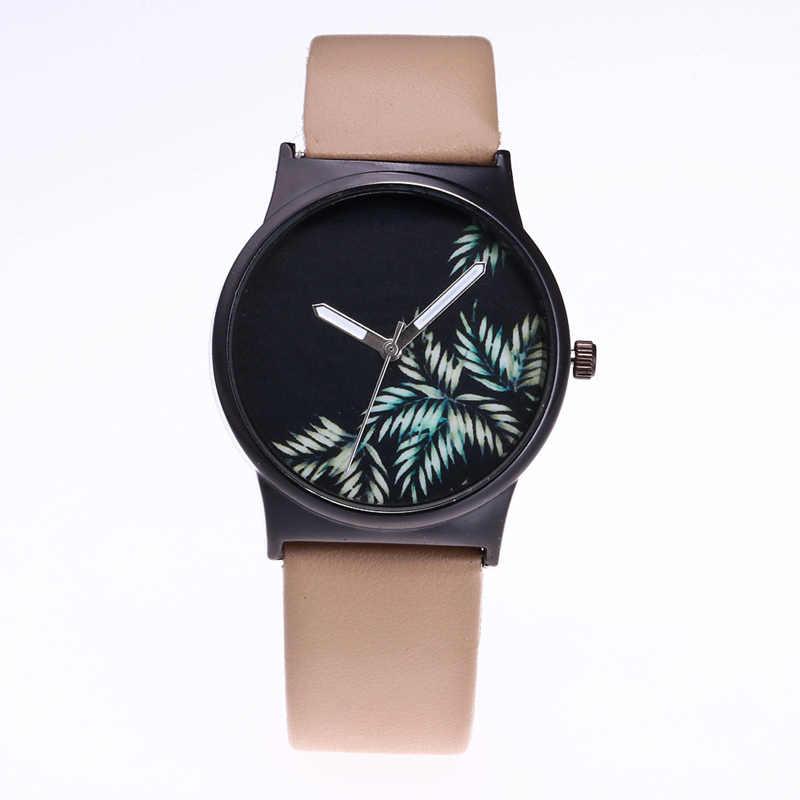 Relojes de mujer de estilo fresco diseño creativo Casual Naturaleza de bambú hojas de cuarzo reloj de pulsera de cuero Vintage relojes femeninos