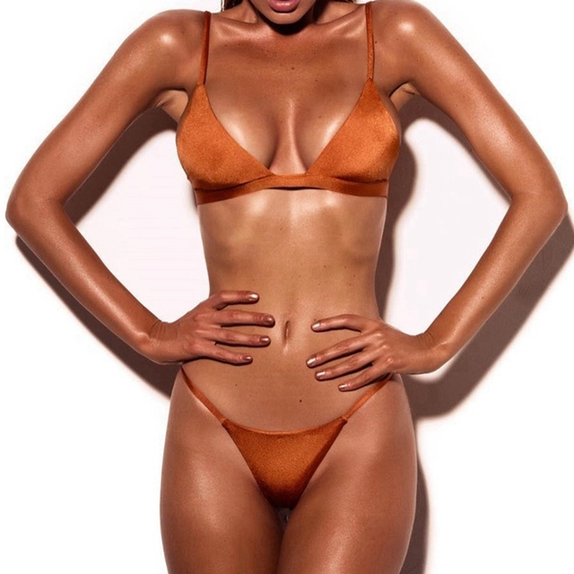 LASPERAL 2018 Sexy Solid Top Thong Micro Bikini Women Swimsuit Brazilian Bikinis Set Bathing Suit Beach Maillot De Bain Monokini