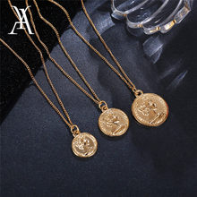 Vintage Carved Coin Necklace For Women Fashion Gold Color Medallion Necklace Multiple Layers Pendant Long Necklaces Boho Jewelry(China)