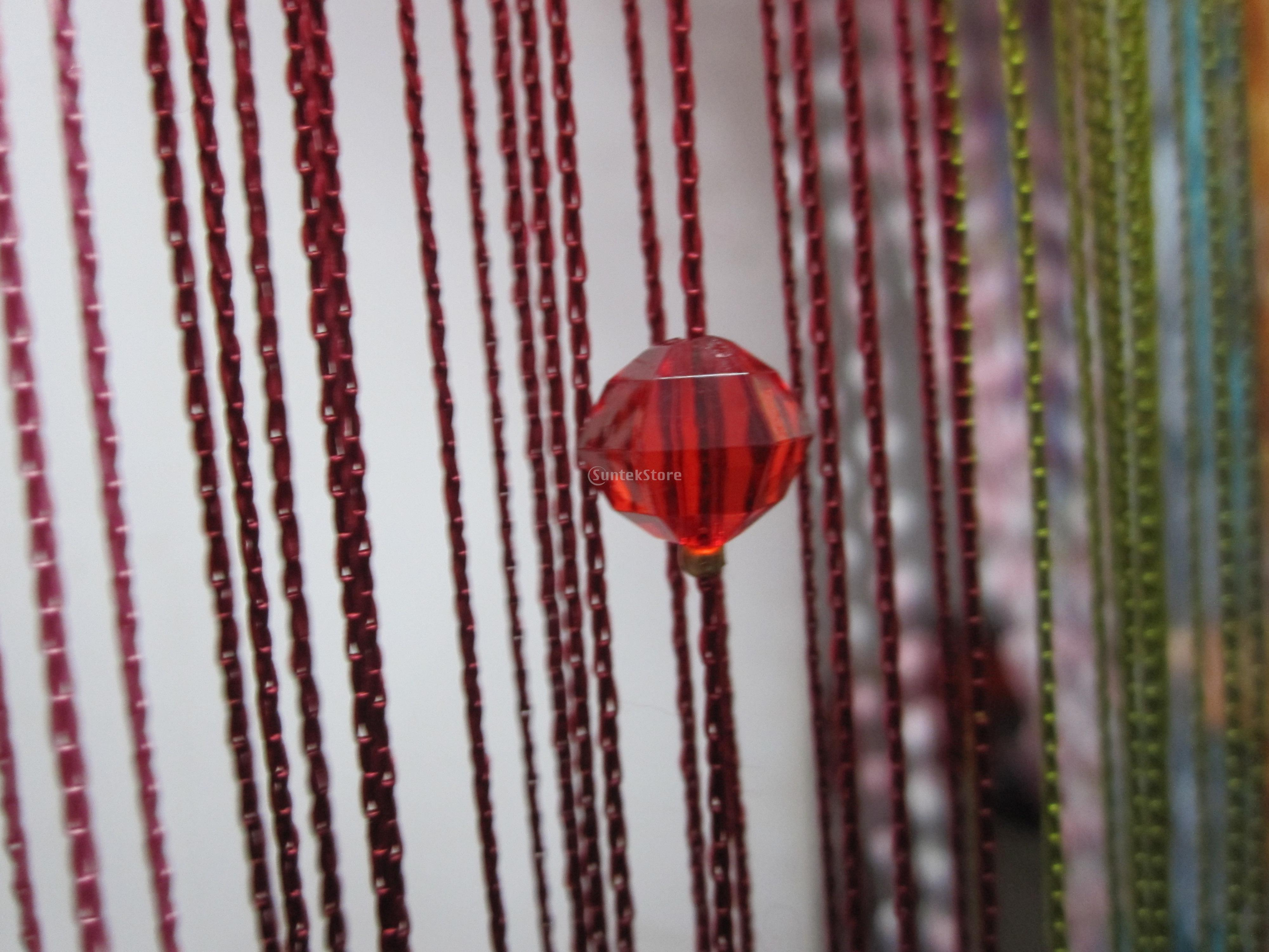 Beaded string curtains - Window Yarn Dyed Divider Crystal Beads String Curtain Tassel Screen Wine Red China