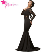 Dear Lover 2017 Evening Black Long Lace Sleeve Mermaid Maxi Dress Sexy Party Gowns Robe De