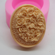 Round gift soap mould rose diy Chocolate sugar cake Silicone molds for making handmade Mold