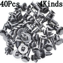 40pcs Push type Car Rivets Clips Retainers High Quality Black Auto Interior Panel Pins Trim Set Kit
