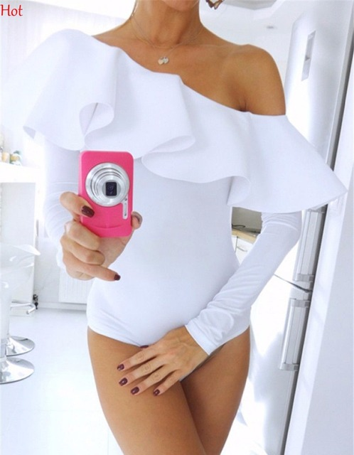 2f93ae8501 Sexy Women One Shoulder Jumpsuits Long Sleeve Bodysuit T-shirt Ruffled Off  Shoulder Leotard Top