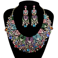Peacock Design Bridal Jewelry Sets Wedding Statement Necklace Earring For Brides Women Party Dress Jewelry Accessories Multi