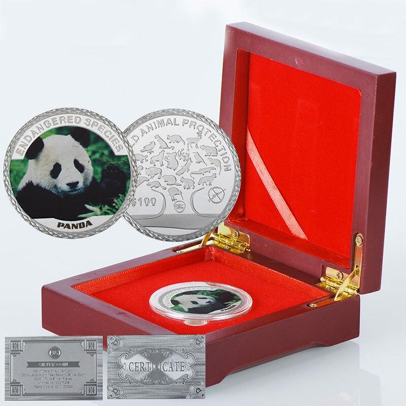 Wr China Gedenkmünze Dekorative Panda Nette Tier Silber Münzen 9999 Silber überzogene Metall Münze In Holz Box