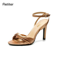 Fletiter Brand Sexy Women Shoes Straw Sandals 2018 Summer Shoes Ankle Strap High Heel Sandals Elegant