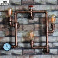 Iron Water Pipe Wall Lamp Vintage Aisle Lights Loft Iron Wall Lamp Edison Incandescent Light Bulb Industrial Wind Decoration LED