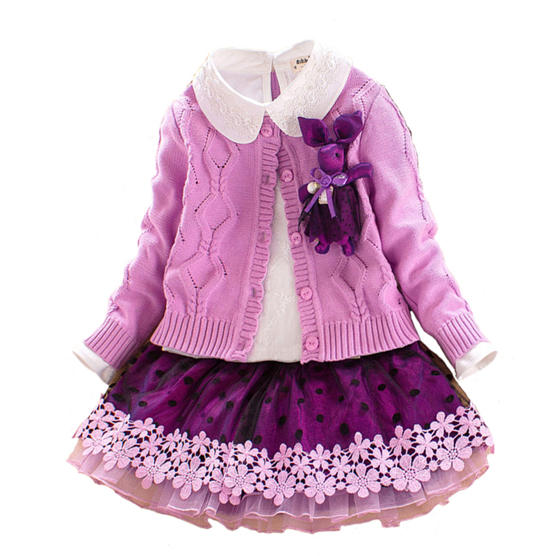 Children`s Winter Clothes Set Girls Sweater Coat+cotton Blouses+lace Skirt 3pcs Suit Girls Princess Shcool Clothing for 4y-8y