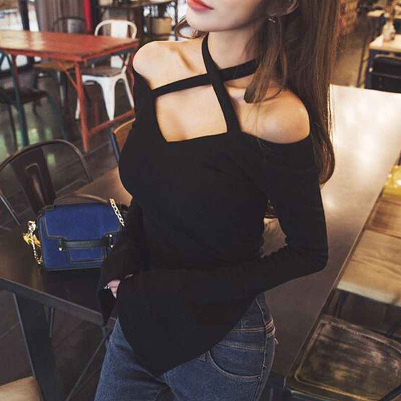 New Women Long-Sleeved Strapless Off Shoulders Knitted Solid Color Round Collar High-Elastic Cotton T-Shirt 2019