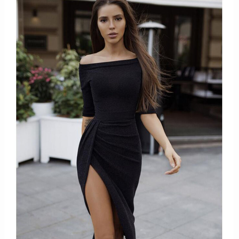2019 Latest Ladies Sexy Bag Hip Open Neck Collar Dress Bright Crystal