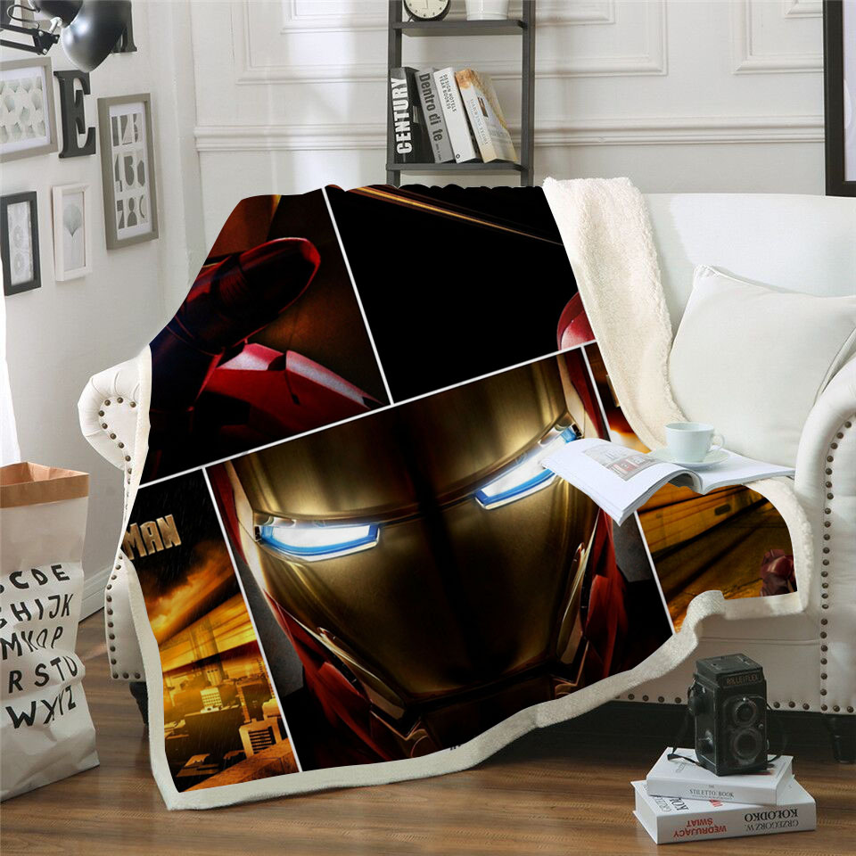 Ironman 3D Printed Sherpa Blanket Velvet Plush Throw Fleece Blanket Bedspread Youth Couch Sofa Quilt Cover Travel Bedding Outlet|Blankets| |  - title=