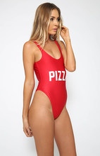 PIZZA Swimsuit Low back Alta-cut Hipster Mulheres swimwear one piece bodysuit Jumpsuits do Formulário-encaixe Sexy maiô macacão(China)