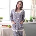 Outono Mulheres Pijamas De Algodão Sleepwear Conjuntos de Pijama Pijama Completo Manga Floral Impresso Lace Em Torno Do Pescoço Sono Salão Pijama Casual