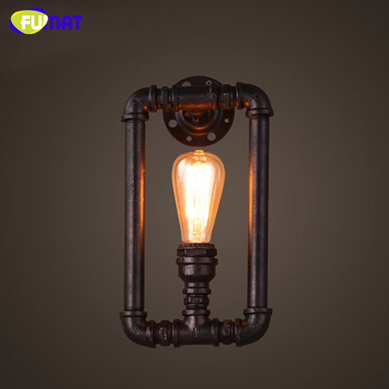 FUMAT Loft American Vintage Industrial Aisle Wall Lamps Corridor Balcony Wall Light Restaurant Bar Iron Water Pipe Sconce