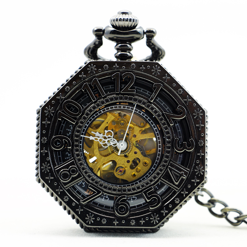 New Antique Necklace Hand-Winding Skeleton Mechanical Pocket Watch Roman Numbers Black Dial For Men Women PJX1143