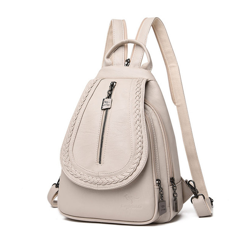 HTB16qqSbXP7gK0jSZFjq6A5aXXa7 Women Leather Backpacks Zipper Female Chest Bag Sac a Dos Travel Back Pack Ladies Bagpack Mochilas School Bags For Teenage Girls