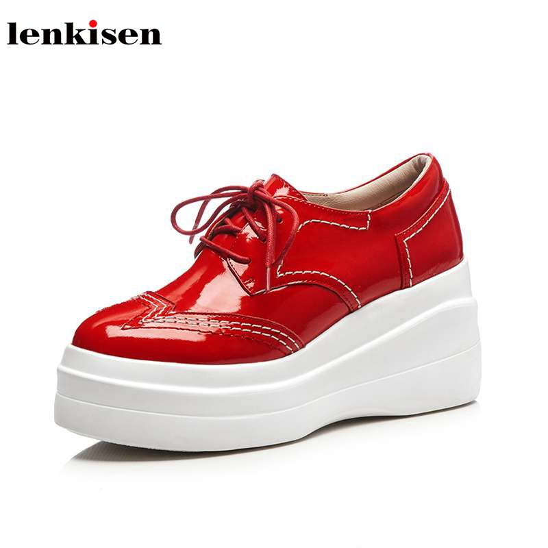 Lenkisen 2018 cow lrather round toe high heel British school lace up solid causal shoes high fashion women vulcanized shoes L93