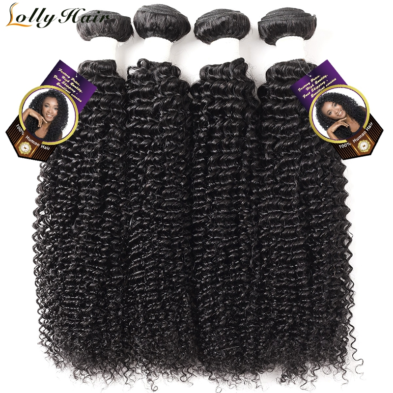 Lolly Hair Indian Curly Hair Bundles Natural Color Remy Hair Weave 8-28 inch Kinky Curly Human Hair Extensions 4 Bundles Deal