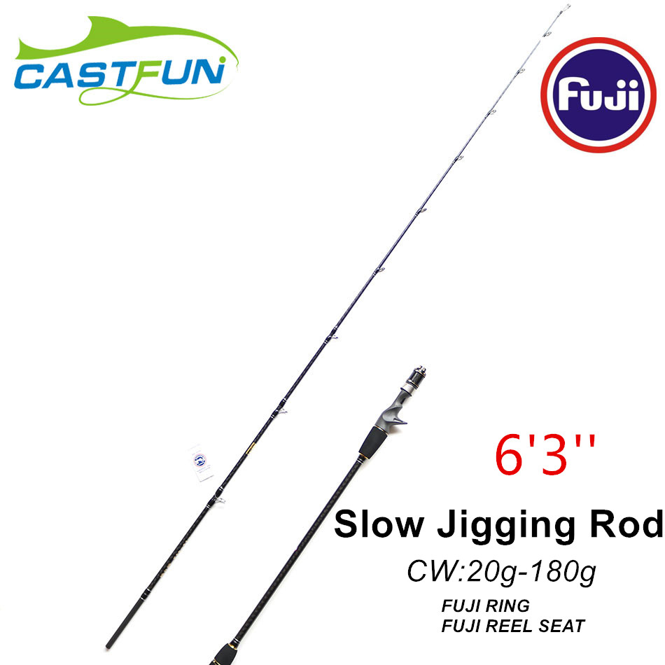 Castfun 1.9m 1+1 Section CW 20-180g Fuji Slow Jig Rod Canne Jigging FUJI REEL SEAT AND RING Slow Pitch Jig Rod Slow Jigging Rod цена
