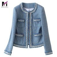 Blue Tweed Jacket Coat 2019 Autumn Women's Beading Long Sleeve Woolen Fringed Trim Tassels Pearl Pocket Runway Jacket