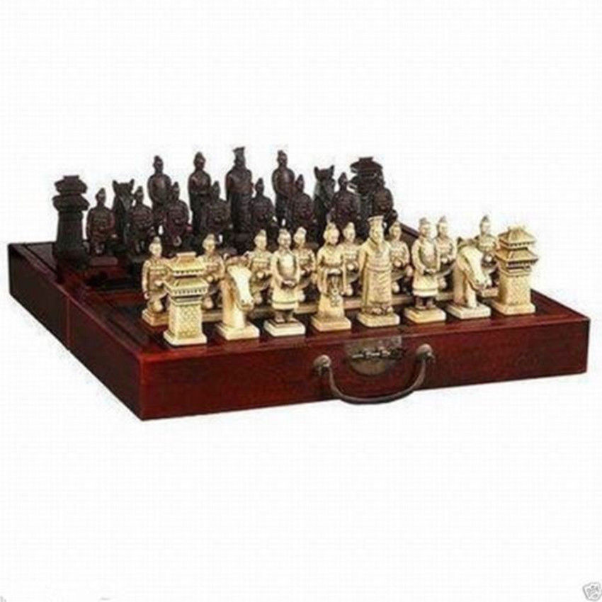 Chinese Dragon wood Leather box with 32 Chess Set Chinese Dragon wood Leather box with 32 Chess Set