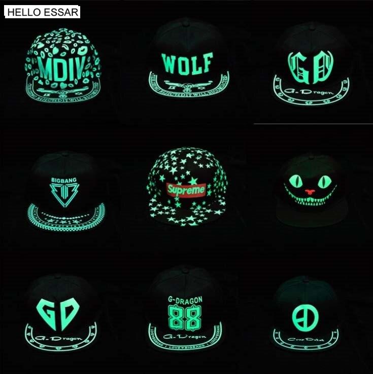 New Glow In The Dark Graffiti Baseball Cap Women Men Snapback Noctilucence Fluorescent Baseball Hat Luminous Hip Hop Caps C1076
