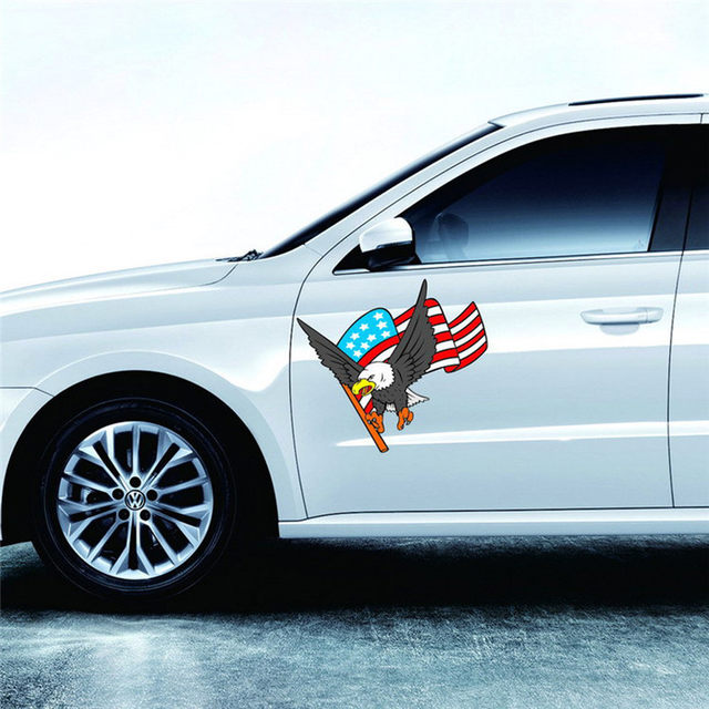 2017 Newest Car Decal Flying Hawk Auto Truck Hood Side Eagle Usa Flag Sticker Accessories Styling Stickers Decals
