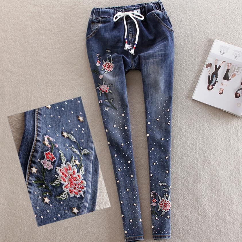 Elastic Waist Embroidery Women Denim 2018 New Beaded Diamond Jeans Pencil Feet Trousers