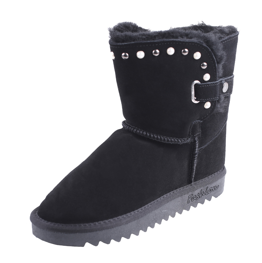 CICO Cow Suede Women Snow Boots Wool Women Winter Boots Fashion Women Mid Calf Boots with Buckle & Pearl Decoration casual women s mid calf boots with metallic buckle and suede design