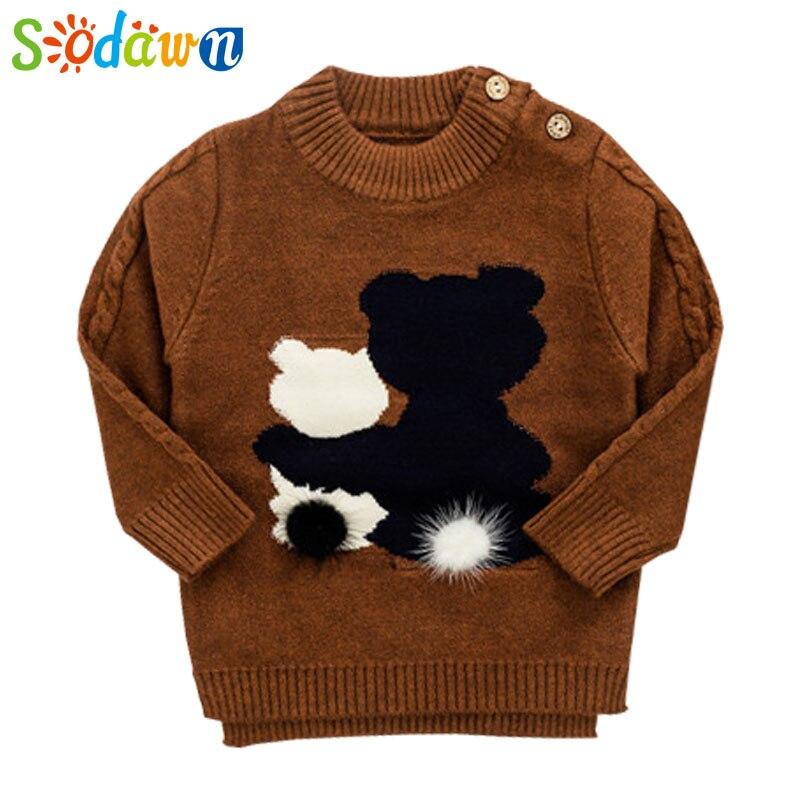Sodawn Baby Boy Clothes Kids Sweater Autumn Winter Boy Cartoon Sweater Infant Round Neck Sweater Fashion Children Sweater