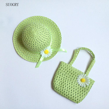 2017 Girls Beach Hats Bags Flower Straw Hat Cap Tote Handbag Bag Suit Children Summer Sun Hat 52 CM For 3-7 Years 9 Colors girls flower decorated straw hat