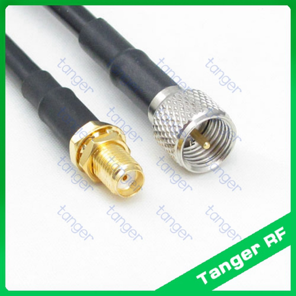 все цены на Tanger Mini UHF male plug PL259 SL16 to SMA female jack connector RF RG58 Pigtail Jumper Coaxial Cable 40inch 100cm hot sale