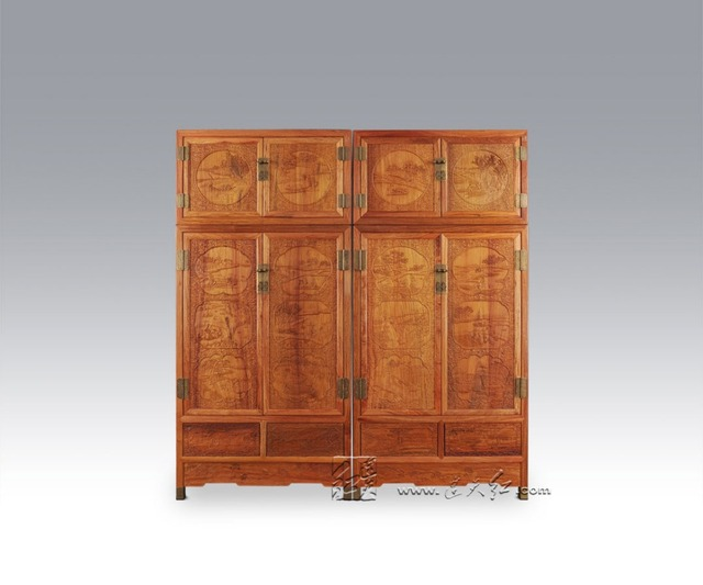 Bedroom Furniture China Antique Solid Wood Wardrobe Rosewood 4 Doors Drawers Closet Bed Room Almirah Crafts