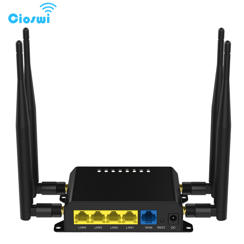 Cioswi WE826 sim card wifi router with 3g 4g modem and 4 extender antenna wi fi repeater 2.4ghz openwrt router 300mbps amplifier kuwfi 3g 4g sim card slot wifi router openwrt 300mbps high power wireless router repeater with 4 5dbi antenna