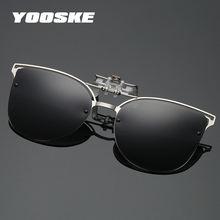 97627c95b0706 YOOSKE Woemn Gato Olho Óculos de Sol Óculos de Lente Polarizada Clip sobre  Óculos de Miopia de Visão Noturna de Condução Senhora.