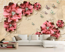 beibehang Custom wallpaper 3D stereo vintage jewelry flowers modern abstract art wall painting living room bedroom 3d