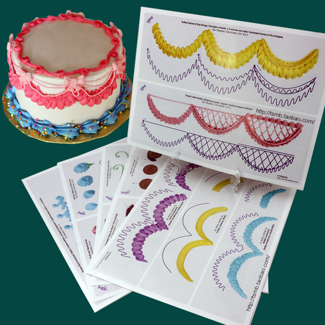 23pcsset cake icing piping diy practice drawing board template paper practice template paste fondant
