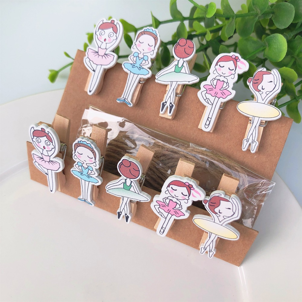 10 Pcs/Set Beautiful Ballet Girl Wooden Clip Photo Clips Party Decoration Clip With Hemp Rope