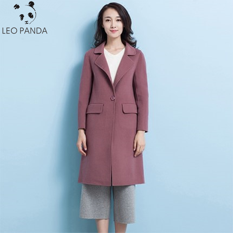 Autumn And Winter Women New V-Neck Manually Two-Sided Wool Coat 2019 Single Button Slim Tweed Coat Temale Fashion Overcoat ZX361(China)