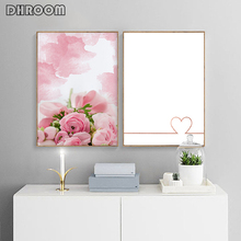 Watercolor Brush Rose Flower Wall Art Gold Heart Posters and Print Minimalist Love Quote Picture Decoration Home Decor