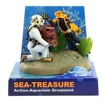 Aquarium Decor Treasure Hunter Diver Fish Tank Ornament Landscape Accessories