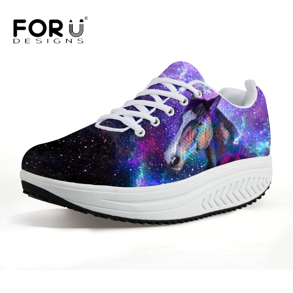FORUDESIGNS 3D Galaxy Women Casual Swing Shoes Flats Animal Crazy Horse Platform Slimming Shoes for Ladies Increasing Female